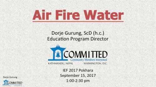 Innovation in Education Fair Pokhara: Air Fire Water