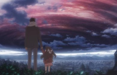 Rin and her father gazing at the sky. From Shelter the Animation. Courtesy of Porter Robinson.