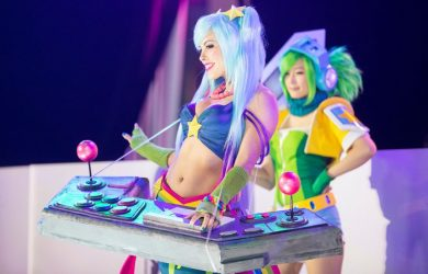 """Featured """"League of Legends"""" Cosplay - Arcade Sona and Arcade Riven by Nadyasonika and Doremi Cosplayer. Photo by Colin Young-Wolff Photography."""