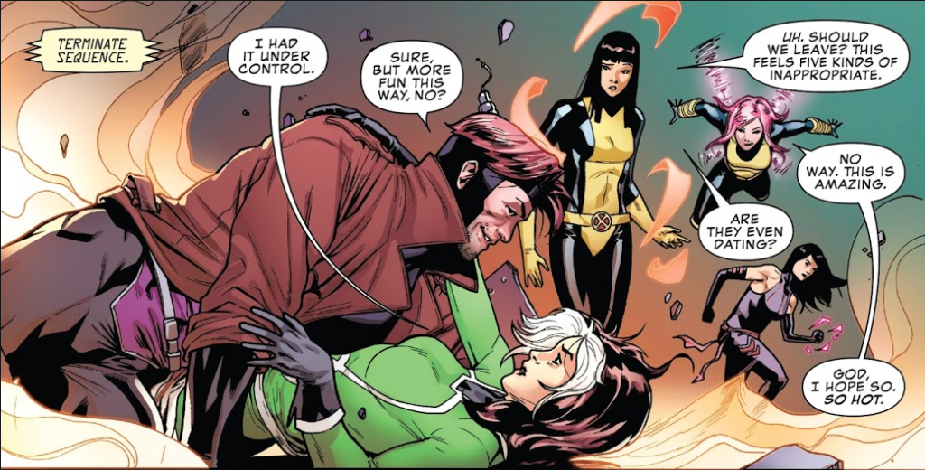 Rogue & Gambit in five kinds of inappropriate.