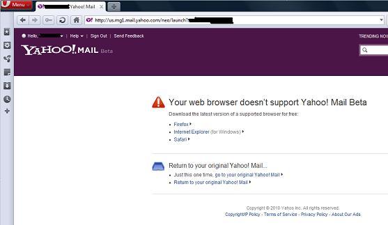 Yahoo! Mail Beta in Opera 10.63