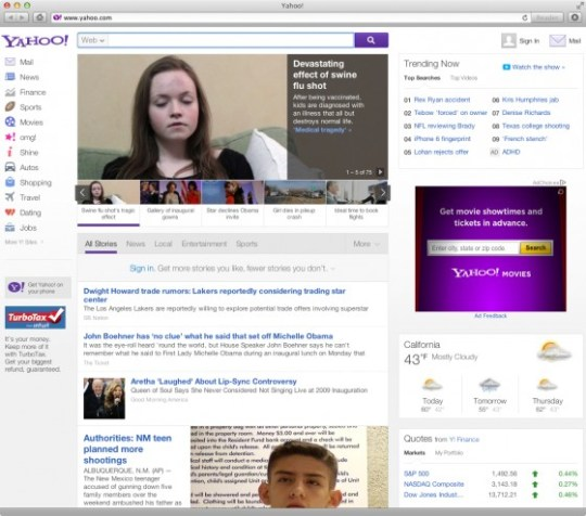 Another Tested Yahoo! Homepage