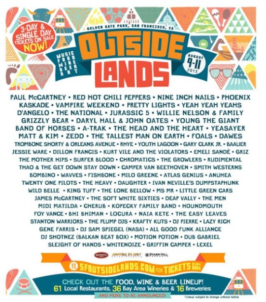 Outside Lands Festival 2013 Lineup