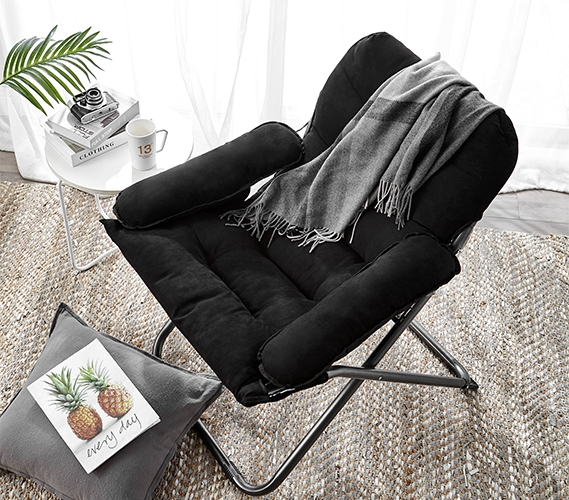 Great For Studying  College Club Dorm Chair  Plush  Extra Tall  Black  Super Soft Seating