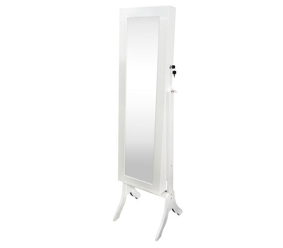 College Ave Full Length Mirror Jewelry Stand White Tall