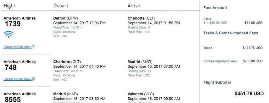 AA Itinerary