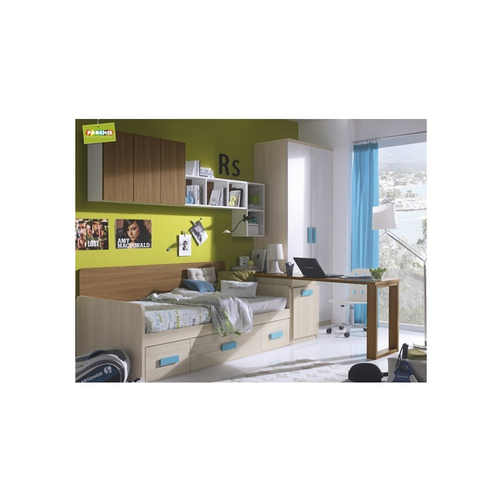 Dormitorio Cama Nido Azul  Camas Nido con Cajones