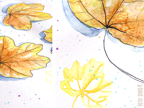 Herbstblätter - Aquarell auf Papier  www.dorokaiser.online.de