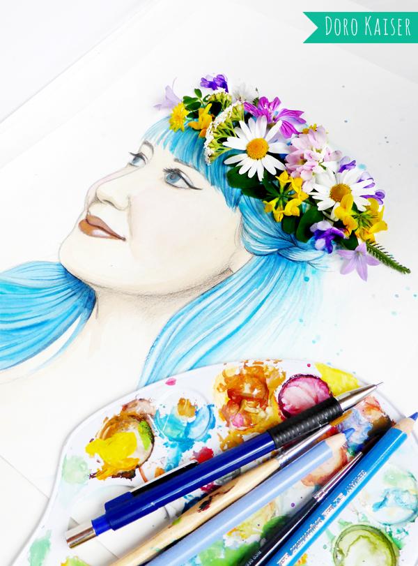 blumenkrone aquarell  doro kaiser  grafik  illustration