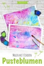 Malen mit Kindern: wunderbare Pusteblumen mit Wasserfarben malen