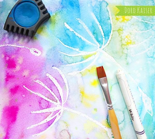 Malen mit Kindern: wunderbare Pusteblumen mit Wasserfarben malen ...