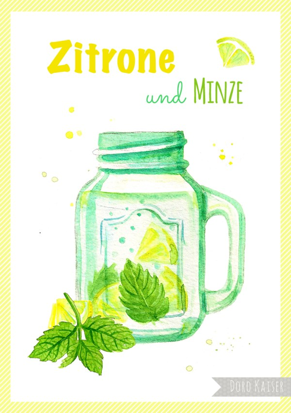 "Food Illustration "" Infused Water Zitrone und Minze"", Doro Kaiser 
