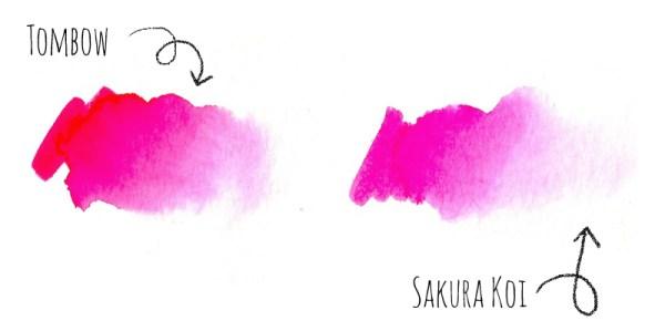 Review Vergleich Brush Pen - TOMBOW vs. Sakura KOI   Farbverlauf   www.dorokaiser.online.de