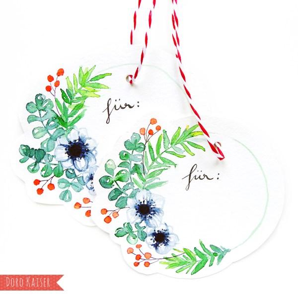 Farben Mischen | Malen Lernen mit Aquarellfarben: Geschenkanhänger mit Weihnachtskranz | www.dorokaiser.online.de