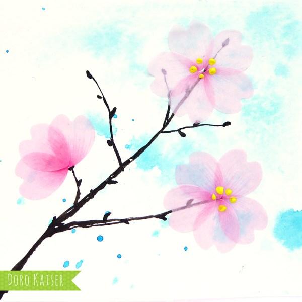 Illustration Kirschblüte mit Flower Washi Tape | www.dorokaiser.online.de