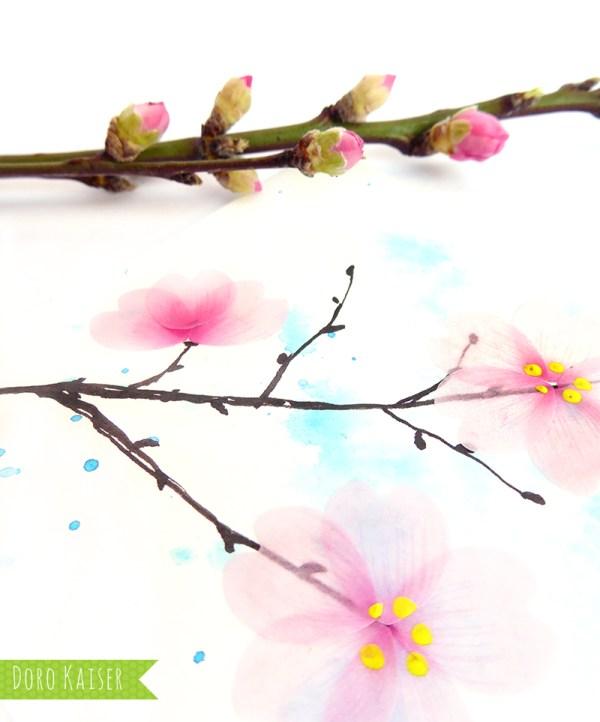 Kirschblüten aus Flower Washi Tape - Matdrial | www.dorokaiser.online.de