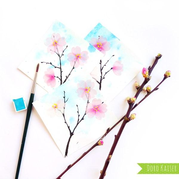 Kirschblüten aus Flower Washi Tape   www.dorokaiser.online.de