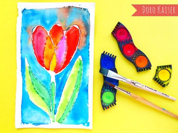 Malen mit Kindern: Ostereier mit Muster aus Leim und Wasserfarbe | www.dorokaiser.online.de