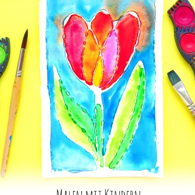 Malen mit Kindern: Tulpe mit Wasserfarben und Leim   www.dorokaiser.online.de