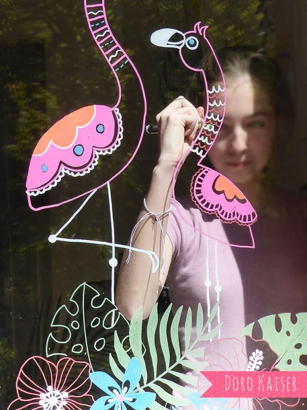 Fensterbild Flamingo