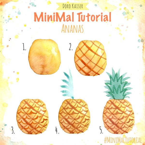 MiniMal Tutorial: Ananas, Aquarell Malanleitung
