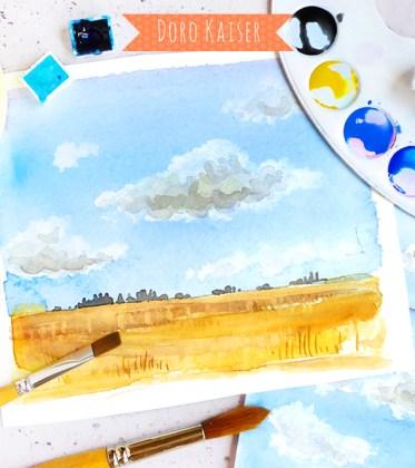 Schritt für Schritt Anleitung | Malen lernen mit Aquarellfarben: Himmel und Wolken | www.dorokaiser.online.de