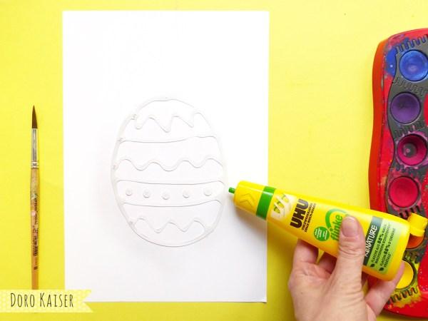 Osterei malen mit Wasserfarben, Kleber und Salz