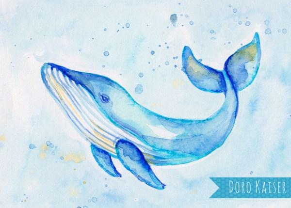 Pinselstifte Aquarell Wal