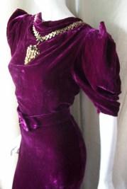 Vintage DRESS 30's GOWN PURPLE VELVET w/ GRAPE Pendant