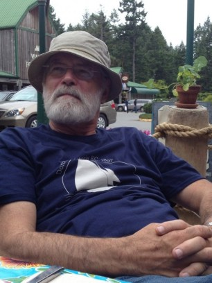 David Baker in a Dorothy tee, hanging outside the Village at Gabriola. June 2013. dorothysails.com