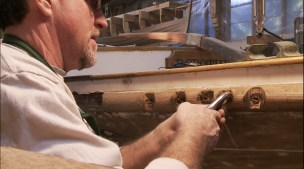 Removing fastenings rubrail stern