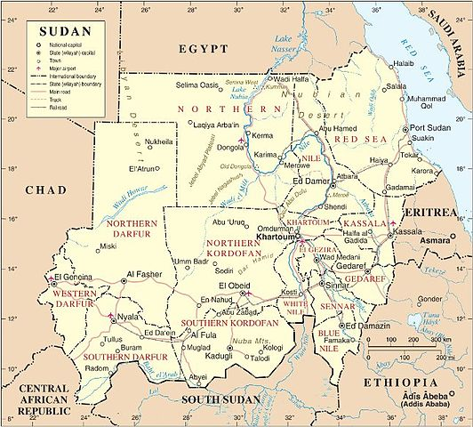 """Map of Sudan (New)"" by Muhammad Daffa Rambe - Own work. Licensed under CC BY-SA 3.0 via Wikimedia Commons - http://commons.wikimedia.org/wiki/File:Map_of_Sudan_(New).jpg#/media/File:Map_of_Sudan_(New).jpg"