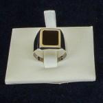 €180,00 – Anello in oro Bianco 18k con pietra nera quadrata