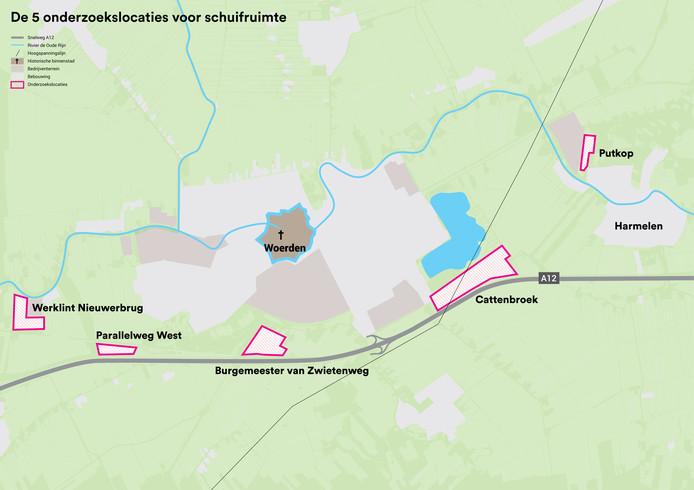 5 locaties in beeld; afbeelding overgenomen uit: AD 20-11-2019
