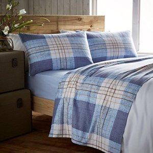Parure de drap en flanelle comprenant 1 drap-housse + 1 drap et 2taies d'oreiller 100% coton, Akin Blue, Double