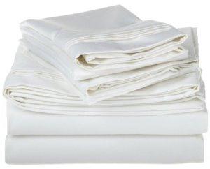 1500fils en coton égyptien massif Feuille de couleur: blanc, Taille: Full