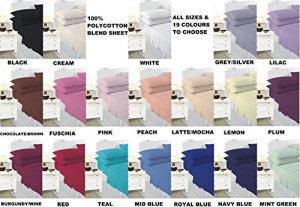 Comfy Nights Drap-housse extra profond 40cm en percale polyester et coton facile d'entretien, bleu marine, Pillow Pair