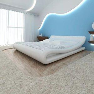 Furnituredeals Lits doubles lit et matelas mémoire de forme cuir ARTIF. 180x 200courbe blanche lit matrimonial