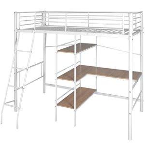 Furnituredeals Lits doubles lit haute avec bureau 200x 90cm blanc et marron métal Lit Matrimonial