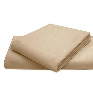 Drap-housse Dulce Lino facile d'entretien et durable en polycoton., Coton/polyester, pêche, Pillow Pair