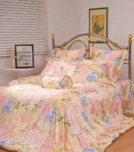 Orifashion Luxe 100% soie Charmeuse de lit, 1drap-housse, 1drap et 2couvertures d'oreiller, imprimé fleurs Rose, Bleu et Jaune, Soie, blue/pink/yellow, Super king