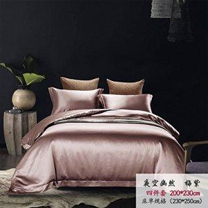 M&K Draps De Couleur Unie en Soie,Beding D'antidérapant Soft Luxe Couette Respirante Couverture-A 180x200cm(71x79inch)
