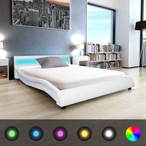 WEILANDEAL Lit avec LED et Matelas, Cuir Artificiel 140x 200cm Blanc Lits Bande LED: