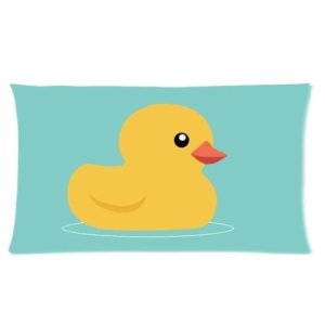 Custom Yellow Rubber Duck With Blue Background Pattern Rectangle Pillow Cases Pillow Cover Standard Size 20×36 (two side)
