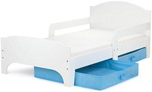 Moderne Smart Lit d'Enfant Toddler 140×70 Couleur Blanche Confortable Fonctionnel Lit Simple Avec Un Tiroir Lit Pour Enfant Avec Rangement et Matelas Grand Tiroir En Textile 2 Pièces