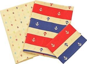 Emoor 100% coton 4pièces de lit double pour futon traditionnel japonais, Marine Bordure, Royal tricolore