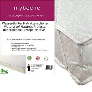 Mybeene – Alèse imperméable pour matelas – Coins en caoutchouc –Respirant – Passe au sèche-linge– Ne fait pas de bruit – Côté supérieur en éponge – Blanc, weiß, 140×200