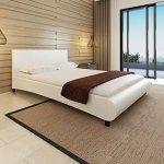 WEILANDEAL lit avec Matelas de Cuir Artificiel Blanc 140x 200cm Lits Dimensions totales: 215x 145x 68cm (Longueur x Largeur x Hauteur)