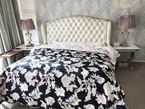 Otter Home.com Luxus Queen Chesterfield Lit en Cuir de Vachette véritable