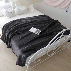 Shu Coton Velours Dentelle épaississement Flanelle Couverture Double Raschel Couverture Corail Velours Couverture Couverture (Color : Gray, Taille : 59.06 * 78.74)